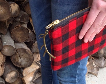 Buffalo Plaid Purse, Deer Antler, Holiday Bag, Gifts for Teen Girls, Gifts Under 30, Holiday Fashion, Handbag, Clutch, Ready To Ship Gifts