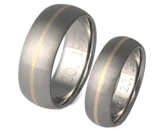 Titanium And 18k Gold Ring Set - Gold Wedding Band Set - Titanium  And Gold Engagement Set - stg4