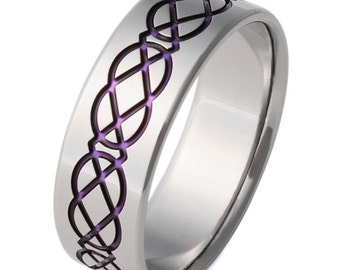 Titanium Irish Celtic Wedding Band - Purple Celtic Ring - ck1Purple