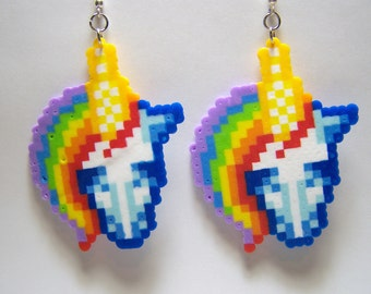 unicorn perler dangle earrings