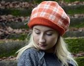 felt beanie Handmade orange felt hat felted beanie felt cap wool nunofelt hat warm winter fashion ooak hat