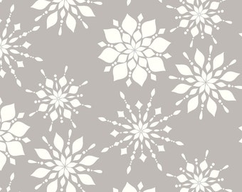 Grey Holiday Snowflakes Fabric - Elegant Snowflakes Warm Gray By Sugarfresh - Snowflakes Cotton Fabric By The Yard With Spoonflower