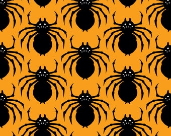 Spiders Fabric - Bats, Cats, And Spiders! Orange By Pinkowlet - Kids Bugs and Insects Spiders Cotton Fabric By The Yard With Spoonflower