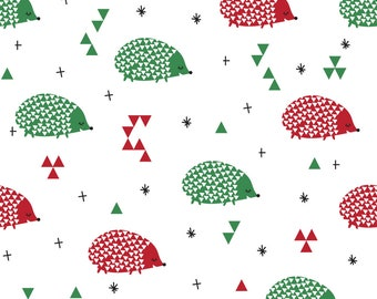 Hedgehog Fabric - Christmas Hedgehogs By Laurawrightstudio - Red and Green Woodland Creature Cotton Fabric By The Yard With Spoonflower