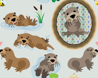 Otter Family Fabric - Otters By Thickblackoutline - Cute Baby Otter Nursery Decor Cotton Fabric By The Yard With Spoonflower