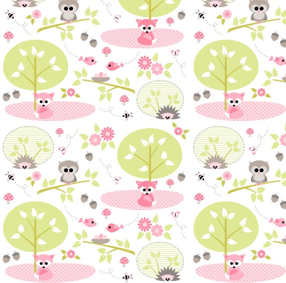 Woodland baby fabric woodland babies in pink by for Baby nursery fabric yard
