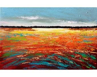 landscape painting ORIGINAL abstract landscape trees horizon sunset acrylic impressionism  gold red  aqua rust Canvas 24x36