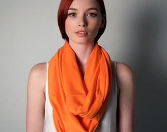 Orange Scarf, Jersey Cotton, Large, Womens, Mens, Circle Scarf