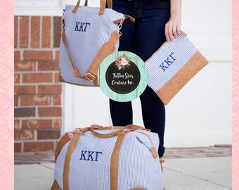 NAVY SEERSUCKER travel set , seersucker weekender ,personalized tote bag , bridesmaid gifts , rustic wedding gift ideas, monogrammed luggage