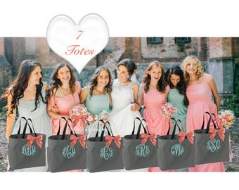 7 bridesmaid tote bags , bridesmaid gifts , tote bag , beach bag , bachelorette party gift ,wedding bag