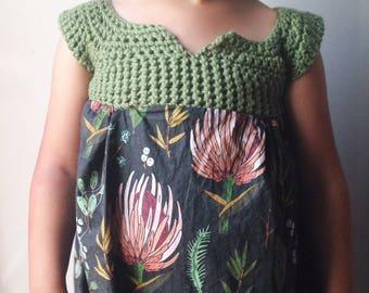 Botanical Girls Dress - knit top floral dress Easter Dress gray flower dress handmade small batch dress - baby floral dress gray baby dress
