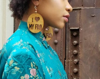 I love my Fro /Natural Hair / African American Woman Earring / Wood Jewelry