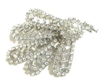 Pave Rhinestone Leaf Brooch Abstract Vintage Clear Crystal