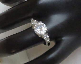 Clear Rhinestone Engagement Ring Vintage Size 6.5