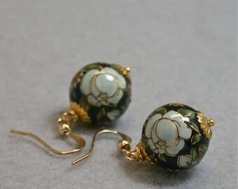 Vintage Japanese Tensha Bead Earrings Black Cream White Rose Dangle Drop , Gold French Ear Wires - GIFT WRAPPED EARRINGS