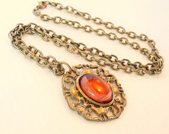 Raspberry Red Pendant Necklace Vintage Open Oval Filigree Chunky Chain Light Goldtone