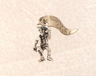 Vintage Silver Miner Cowboy Charm Scottys Castle 1950s Souvenir California Pendant
