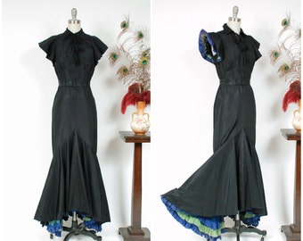 RESERVED ON LAYAWAY Vintage 1930s Dress - Rare Curve Hugging Late 1930s Peggy Hunt Jean Carol Label Evening Gown with Ruffled Accents