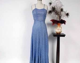 Vintage 1930s Dress - Spring 2017 Lookbook - The Radienne Dress - Deep Periwinkle Sheer Lace 30s Gown with Slim Straps and Lined Bodice