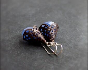 ON SALE Blue Chalcedony Brown Patina Dangle Drop Earrings Filigree Sterling Silver Stone Boho Jewellery