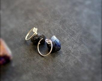 ON SALE Dark Labradorite Gemstone Dangle Earrings - Stone Drop Sterling Silver Black Blue Night Handmade Jewelry