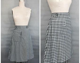 1960s black and white gingham midi skirt