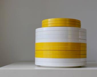 Heller Designs Plates, Yellow and White Plates, Massimo Vignelli, Melmac Melamine, MCM Picnic Plates, Stacking Plates, Vintage Modern
