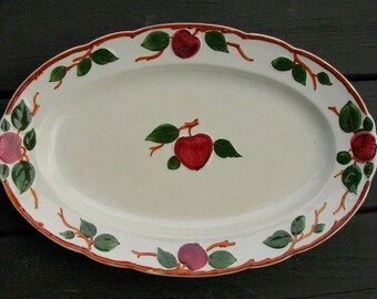 Large Vintage Serving Platter Oval | Villeroy & Boch China | French Farmhouse Kitchen | The Delicious Apple | SAAR Made in France