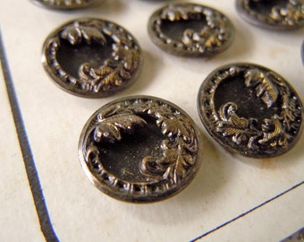 24 Antique Victorian Steampunk Metal Sewing Buttons Carded Pierced Metal Border Buttons