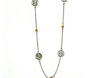 Sterling Silver Station Necklace with antique amber trade beads and vintage French rondelle Links - Long Necklace - Opera Length