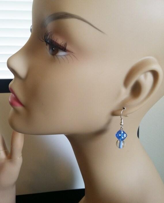 dice bead earrings cats eye earrings blue beaded earrings dangle drop earrings glass acrylic bead jewelry handmade