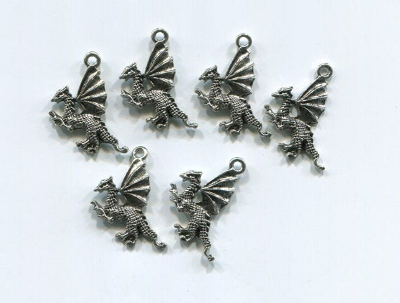 6 dragon charms fantasy charms dragon pendants 10mm x 22mm antique silver tone metal jewelry supply findings