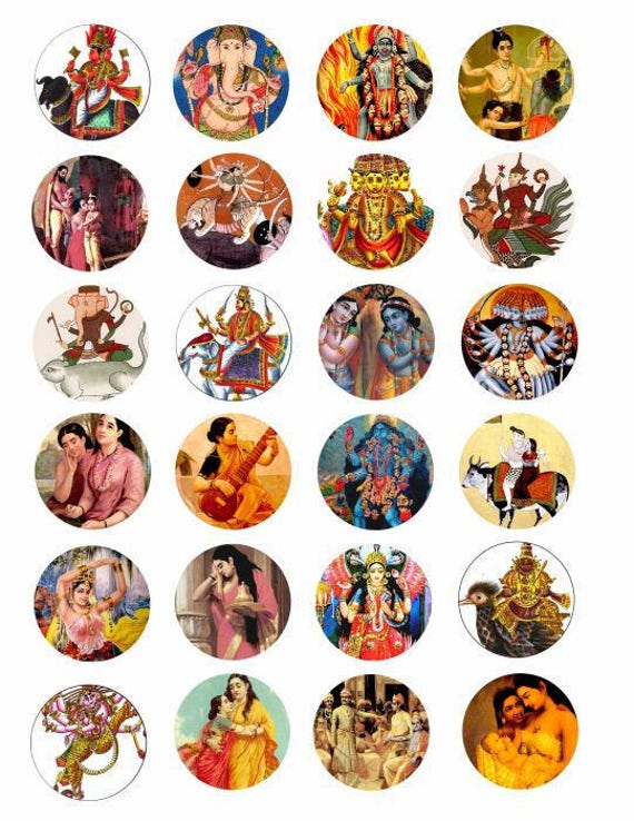 India Art hindu Krishna deities gods goddesses clip art collage 1.5 INCH circles digital download art graphics printables