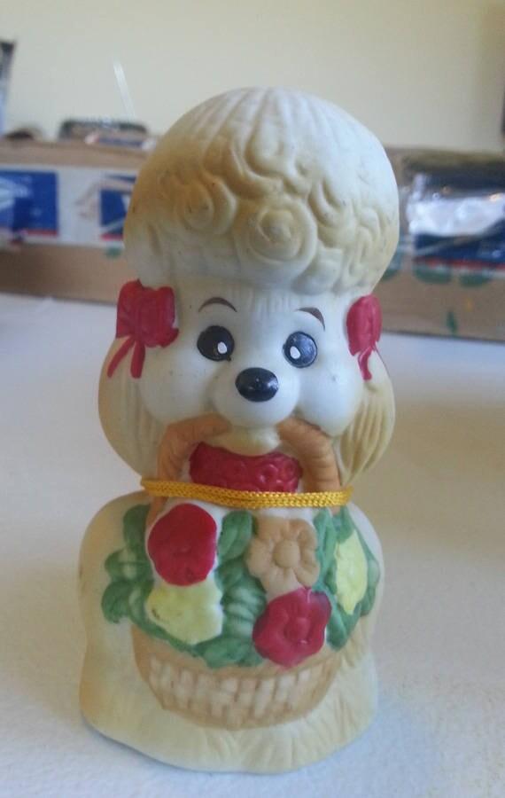 french poodle figurine vintage porcelain bell dog figurine bisque figurine ceramic animals puppy flower basket decor