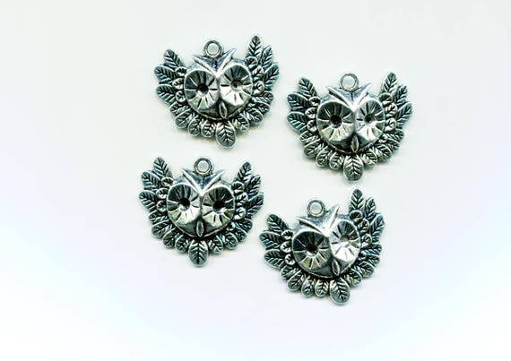 OWL CHARMS owl pendant bird charms bird pendants antiqued silver owl jewelry 30x35mm animal pendant owl face wing charms findings supplies