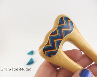 Hair Fork,Wood Hair Fork,Yello Heart Wood Hairfork Mermaids Tail Grahtoe Inlaid Chevrons Gold, Wood Hair Sticks,Gift for her,Hairforks,Wave