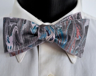 Muted Men's Bow Tie with Turquoise, Grey and Brown on Pink Fabric Made in Asheville, NC MM#15-46