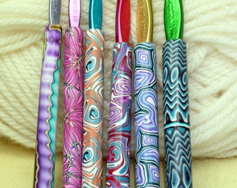 Polymer clay crochet hook set of 6, Susan Bates new hooks, size F through K, six different designs, ready to ship