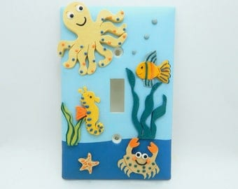 Under the Sea Light Switch or Outlet Cover - Children's Nautical Decor - Gold, Orange, Yellow, Blue - Under the Sea Nursery - Toggle  Rocker