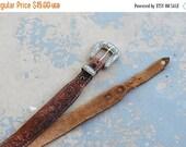 48 Hr Sale vintage Tooled Leather Belt -  Floral Tooled Brown Leather Belt Distressed Leather Belt Sz M L XL