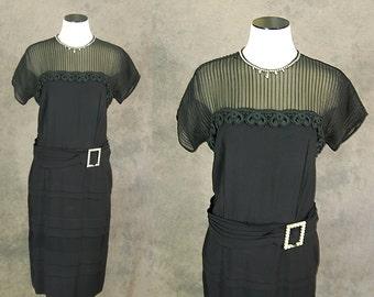 vintage 40s Cocktail Dress - 1940s Mesh Top Dress - Paul Sachs Black Pleated Wiggle Dress Sz M