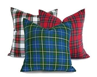 Blue Christmas Pillows, Christmas Plaid Pillow Covers, Blue Tartan Pillows, Blue Green Holiday Pillow, 10x16, 18, 20, 22, 24, Seasonal Decor