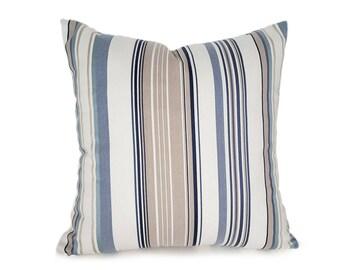 Cream Blue Striped Pillow Covers, Masculine Pillows, Mens Designer Pillows, Cream Blue Navy Tan Pillows, Beach House Pillow 18x18, 20x20 NEW