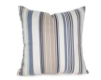 Cream Blue Striped Pillow Covers, Beach House Pillows, Designer Pillows, Cream Blue Navy Tan Pillows, Masculine Pillow 12x18, 18x18