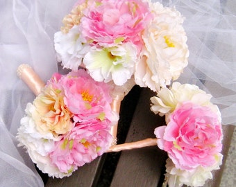 Peony Bridal Bouquet, wedding bouquet, Bridesmaid Bouquet,  Flower bouquet  Pink Ivory Champagne, toss bouquet set (B007)