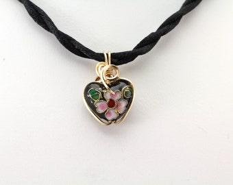 Cloisonne  Heart Pendant. Listing 496869181