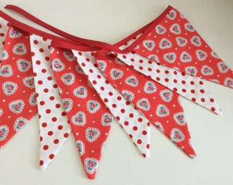 Heart bunting garland - 10 flags featuring a Cath Kidston hearts fabric