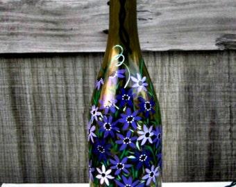 Wine Bottle Light, Night Light, Hand Painted Bottle Light, Recycled Wine Bottle, Green Wine Bottle, Purple Flowers