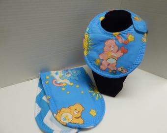 Newborn Bib and Burp Cloth Set Care Bears