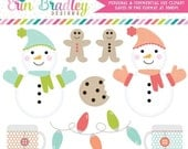 70% OFF SALE Holiday Christmas Clipart Clip Art Personal & Commercial Use Snow Day Fun, Snowman Clipart Graphics